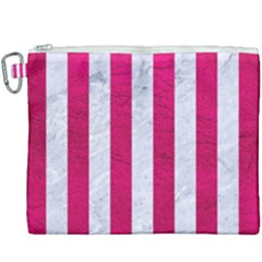 Stripes1 White Marble & Pink Leather Canvas Cosmetic Bag (xxxl)