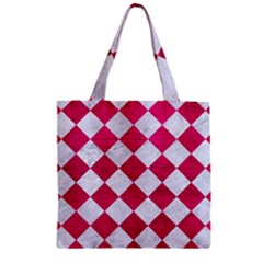 Square2 White Marble & Pink Leather Zipper Grocery Tote Bag