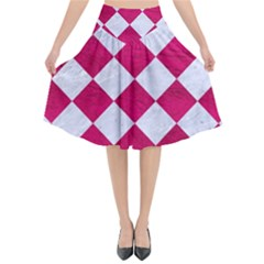 Square2 White Marble & Pink Leather Flared Midi Skirt