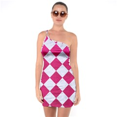 Square2 White Marble & Pink Leather One Soulder Bodycon Dress