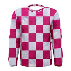 Square1 White Marble & Pink Leather Men s Long Sleeve Tee