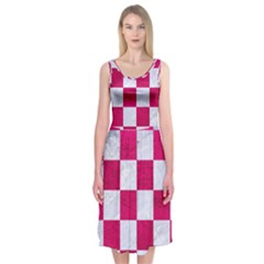 Square1 White Marble & Pink Leather Midi Sleeveless Dress