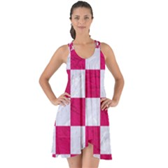 Square1 White Marble & Pink Leather Show Some Back Chiffon Dress
