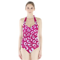 Skin5 White Marble & Pink Leather (r) Halter Swimsuit