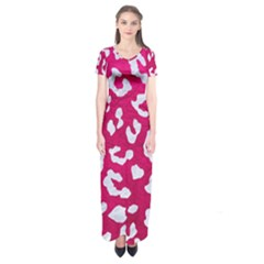 Skin5 White Marble & Pink Leather (r) Short Sleeve Maxi Dress