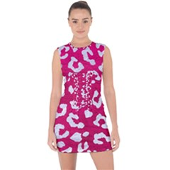 Skin5 White Marble & Pink Leather (r) Lace Up Front Bodycon Dress