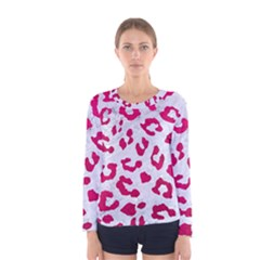 Skin5 White Marble & Pink Leather Women s Long Sleeve Tee