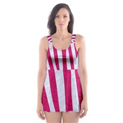 Skin4 White Marble & Pink Leather (r) Skater Dress Swimsuit