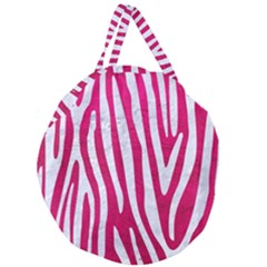 Skin4 White Marble & Pink Leather (r) Giant Round Zipper Tote