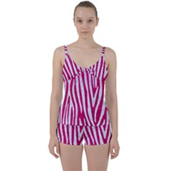 Skin4 White Marble & Pink Leather (r) Tie Front Two Piece Tankini