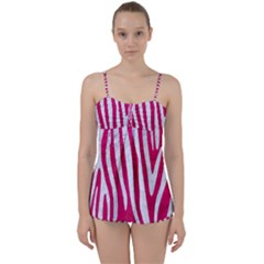 Skin4 White Marble & Pink Leather (r) Babydoll Tankini Set