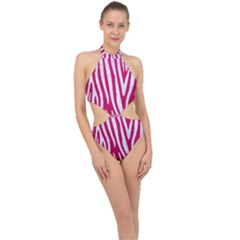 Skin4 White Marble & Pink Leather (r) Halter Side Cut Swimsuit