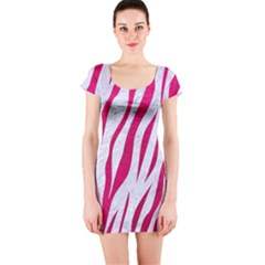 Skin3 White Marble & Pink Leather (r) Short Sleeve Bodycon Dress