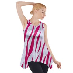 Skin3 White Marble & Pink Leather (r) Side Drop Tank Tunic