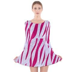 Skin3 White Marble & Pink Leather (r) Long Sleeve Velvet Skater Dress
