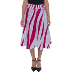 Skin3 White Marble & Pink Leather (r) Perfect Length Midi Skirt