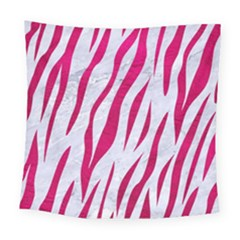 Skin3 White Marble & Pink Leather (r) Square Tapestry (large) by trendistuff