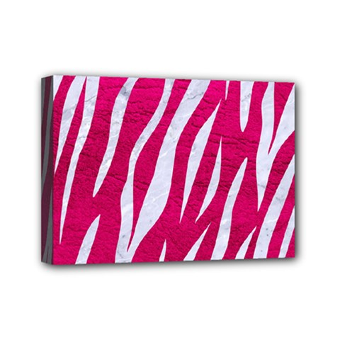Skin3 White Marble & Pink Leather Mini Canvas 7  X 5  by trendistuff