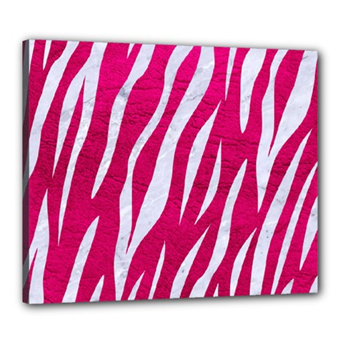 Skin3 White Marble & Pink Leather Canvas 24  X 20  by trendistuff