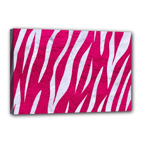 Skin3 White Marble & Pink Leather Canvas 18  X 12  by trendistuff
