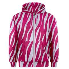 Skin3 White Marble & Pink Leather Men s Zipper Hoodie by trendistuff