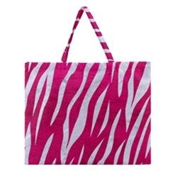 Skin3 White Marble & Pink Leather Zipper Large Tote Bag by trendistuff