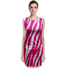 Skin3 White Marble & Pink Leather Classic Sleeveless Midi Dress