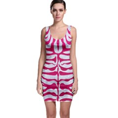 Skin2 White Marble & Pink Leather (r) Bodycon Dress