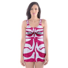 Skin2 White Marble & Pink Leather (r) Skater Dress Swimsuit