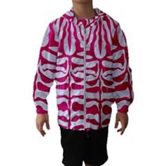 Skin2 White Marble & Pink Leather (r) Hooded Windbreaker (kids)
