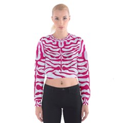 Skin2 White Marble & Pink Leather (r) Cropped Sweatshirt