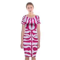 Skin2 White Marble & Pink Leather (r) Classic Short Sleeve Midi Dress
