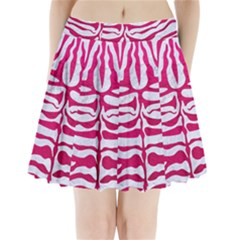 Skin2 White Marble & Pink Leather (r) Pleated Mini Skirt