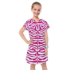 Skin2 White Marble & Pink Leather (r) Kids  Drop Waist Dress