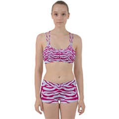 Skin2 White Marble & Pink Leather (r) Women s Sports Set