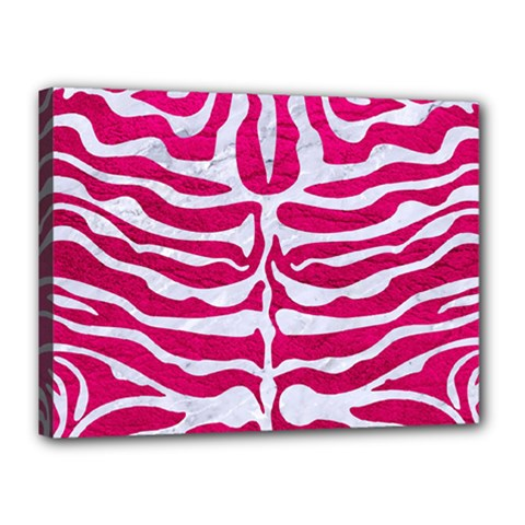 Skin2 White Marble & Pink Leather Canvas 16  X 12