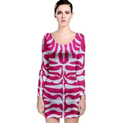 Skin2 White Marble & Pink Leather Long Sleeve Bodycon Dress