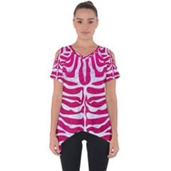 Skin2 White Marble & Pink Leather Cut Out Side Drop Tee