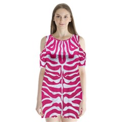 Skin2 White Marble & Pink Leather Shoulder Cutout Velvet One Piece
