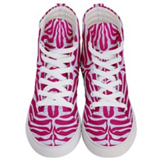 Skin2 White Marble & Pink Leather Women s Hi Top Skate Sneakers