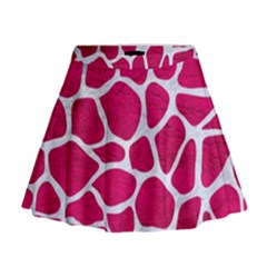 Skin1 White Marble & Pink Leather (r) Mini Flare Skirt