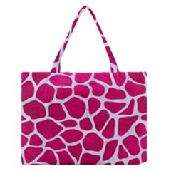 Skin1 White Marble & Pink Leather (r) Zipper Medium Tote Bag