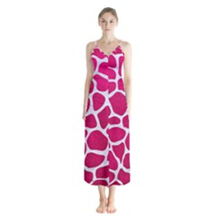 Skin1 White Marble & Pink Leather (r) Button Up Chiffon Maxi Dress
