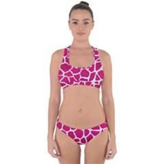 Skin1 White Marble & Pink Leather (r) Cross Back Hipster Bikini Set