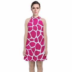 Skin1 White Marble & Pink Leather (r) Velvet Halter Neckline Dress
