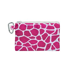 Skin1 White Marble & Pink Leather (r) Canvas Cosmetic Bag (small) by trendistuff