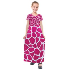 Skin1 White Marble & Pink Leather (r) Kids  Short Sleeve Maxi Dress