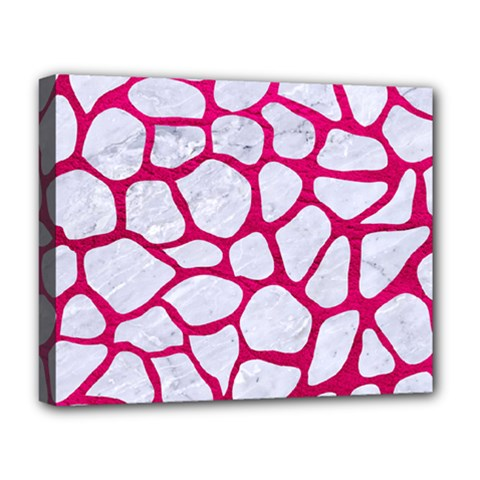 Skin1 White Marble & Pink Leather Deluxe Canvas 20  X 16   by trendistuff