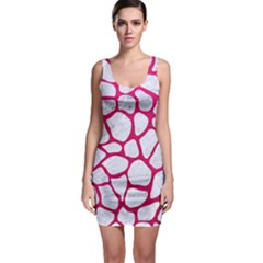 Skin1 White Marble & Pink Leather Bodycon Dress