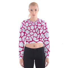 Skin1 White Marble & Pink Leather Cropped Sweatshirt